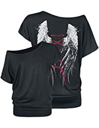 Gothicana by EMP Laced Wings Ladies Tee Girls Shirt Black