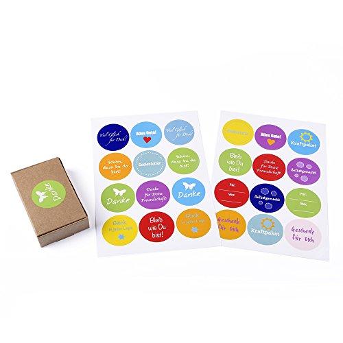 """12 braune Geschenkboxen """"Natur"""" für kleine Geschenke, Candy-Boxen, für Kekse, Bonbons, Deko Geschenkboxen mit 24 netten Sprüche-Aufklebern"""