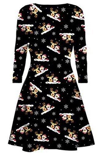 Oops Outlet Damen Kurzes Kleid Weihnachtsbäume Weihnachten Weihnachtsmann