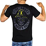 Fire Smoke & Rock´N Roll Dark Edition Männer Feuerwehr T-Shirt, Größe:S