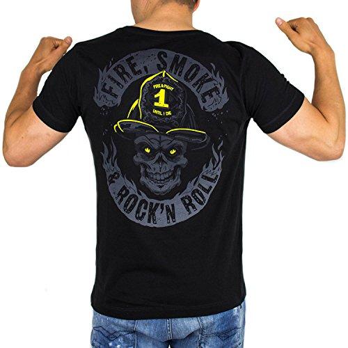 FIRE Smoke & Rock´N ROLL Dark Edition | Feuerwehr T-Shirt Männer als tolle Geschenkidee aus Fein-Jersey Farbe schwarz, Größe:XL