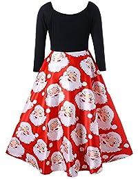 ITISME Frauen Christmas Lange Ärmel Vintage Kleid Damen Großes Pendel Printed Langer Rock