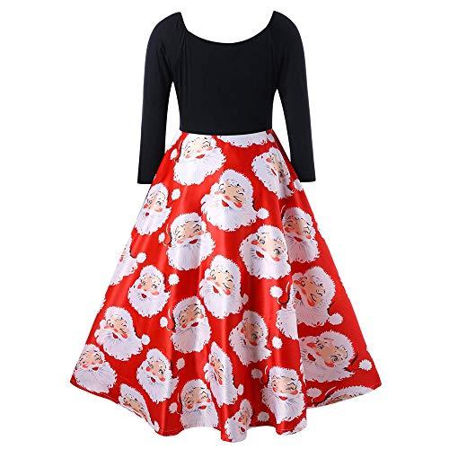 TWIFER V-Ausschnitt Bänder Frohe Weihnachtenkleid Weihnachtsmann Party Midi Kleider