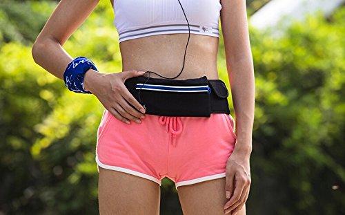 Sportbeutel Taille Fanny Pack Brusttasche mit Handy Tasche & Kleine persönliche Was für Männer und Frauen Verwenden schwarz - schwarz