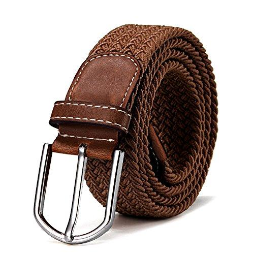 Stoffgürtel Stretchgürtel geflochten und elastisch Gürtel für Damen und Herren Länge 100 cm bis 130 cm hellbraun