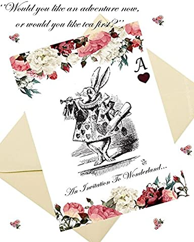 Alice In Wonderland Style Party Invitations & Envelopes (x8 per pack)