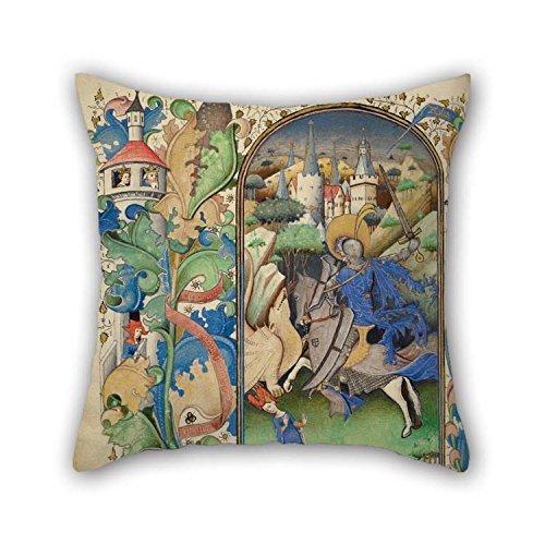 40,6x 40,6cm/40von 40cm Ölgemälde Master of ghillebert de Mets (Flämische, Active über 1410–1450)–Saint George und der Drache Überwurf Kissen Fall Twin Seiten Ornament und Geschenk to Dance Roo (Gesteppte Euro Kissen)