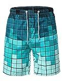 HEMOON Quick Dry Boardshorts, Mens Bathing Suits Swimming Trunks Swim Mosaic Printed Water Beach Shorts L Blue#2-P17