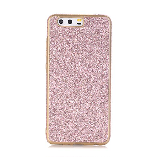 Huawei P10 Plus Hülle, WindTeco Weich TPU Silikon Glitzer Schutzhülle Bling Handyhülle Protective Case Cover für Huawei P10 Plus, Rosa