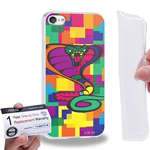 Case88 [Apple iPod Touch 6] Gel TPU Hülle / Schutzhülle & Garantiekarte - Art Drawing Cobra Kawaii Abstract Animals -