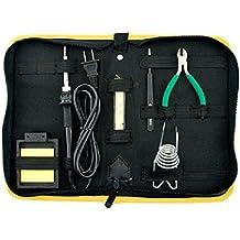Soldadura Starter Juego de herramientas/incluye un soporte de lápices de 25W, hierro, hierro fundido, alto brillo Soler lata, alicates, acero inoxidable pinzas y una limpieza Esponjas en un maletín de transporte de nylon