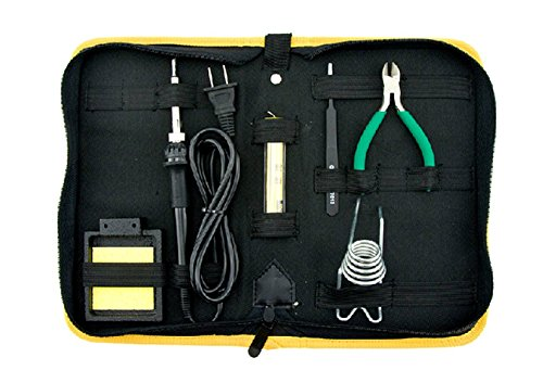 Stand Tin (Soldering Starter Tool Set/This set includes a 25-watt pencil iron, cast iron stand, high brightness soler tin, pliers, stainless steel tweezers and a cleaning sponges in a nylon carrying case)