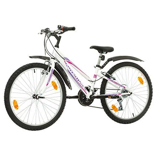 51LqQ9GjSpL. SS500  - Multibrand, PROBIKE ADVENTURE, 24 inch, 290 mm, Mountain Bike, 18 speed, Mudgard Set, For Women, Kids, Juniors, White