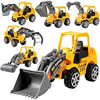 MILL.GD88 ❥6 Pcs Play Vehicles Construction Vehicle Truck Cars Toys Set- Friction Powered Push Engineering Vehicles Assorted Construction for Boys and Girls
