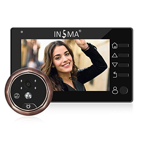 Puerta spione insma® türkamera con pantalla TFT de 4,3pulgadas soporte Foto y vídeo grabar y detección de movimiento para admite 35~ 110mm puertas