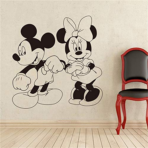 r Wandtattoo Schlafzimmer Mickey Minnie Mouse Wandkunst Aufkleber Aufkleber Mickey Mouse und Minnie Mouse Comicfiguren tanzen Wandaufkleber Cartoons Home Decoration ()
