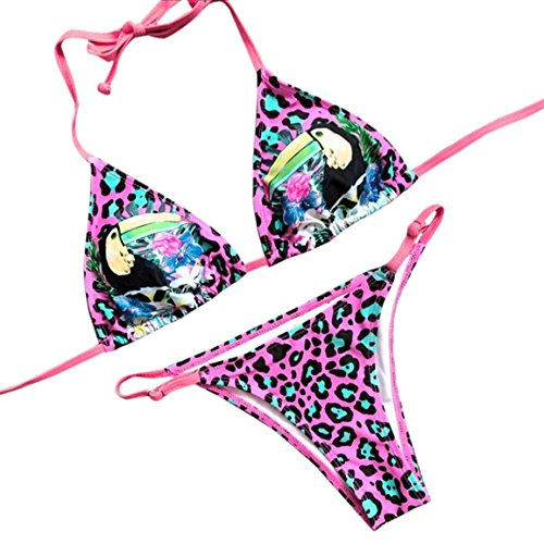 Moonuy,Frauen Wire Free Beachwear, Charm Bademode Push Up Print Leopard Bikini Set Femme Beachwear Broadcloth Playsuits Mode Polyester weich und bequem Badeanzug (Lila, EU 38 / Asien L) (Tyr-print-anzug)