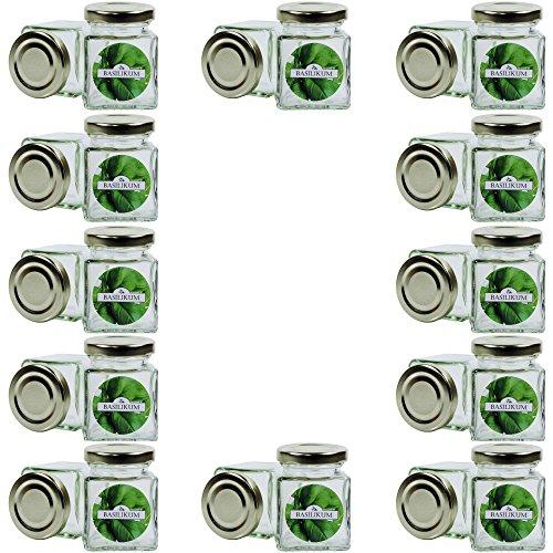 24 kleine, eckige Gewürzgläser 106 ml inkl. 24 runde Etiketten