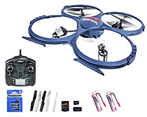 efaso Quadcopter UDI U818A-1 - 2,4 GHz, 4-Kanal Quadrocopter mit 2 MP HD-Kamera, Schutzring, LED-Beleuchtung und Flip-Funktion inkl. 2 x Akku und Batterien - Ready to fly