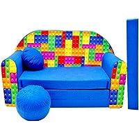 Preisvergleich für Pro Cosmo C32Kinder Sofa Bett mit Puff/Fußbank/Kissen, Stoff, Mehrfarbig, 168x 98x 60cm