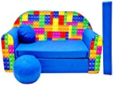 Pro Cosmo C32 Kids Sofa Bed with Pouffe/Footstool/Pillow, Fabric, Multi-Colour, 168 x 98 x 60 cm, cotton