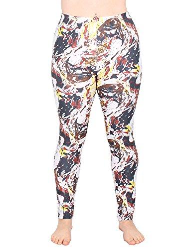 Leggins Damen Leggings leggings mit Muster bunt schwarz weiß elastisch 455 lang ( 3 / S/M ) - 2