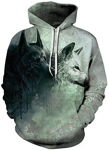 EmilyLe Herren 3D Druck Kapuzenpullover Tier Kosmos Cartoon Sweatshirt Weihnachten Langarm Top Herbst Spaß Hoodie schwarz weiß Wolf