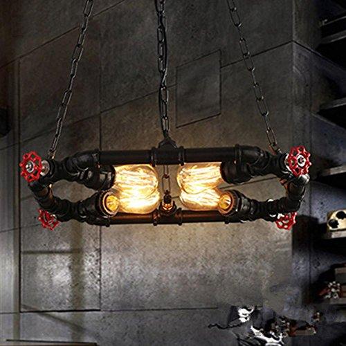 FWEF ovale Lampadario personalità acqua tubo Lampadario Cafe Bar abbigliamento Store Retro industriale decorazione 4 lampadari 50 * 50