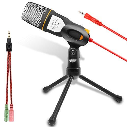 Computer-Mikrofon, Externer Kondensator Mikrofon für Podcast und Skype Chat, Geeignet für die Meisten PC Laptop Notebook (Schwarz und Orange) -