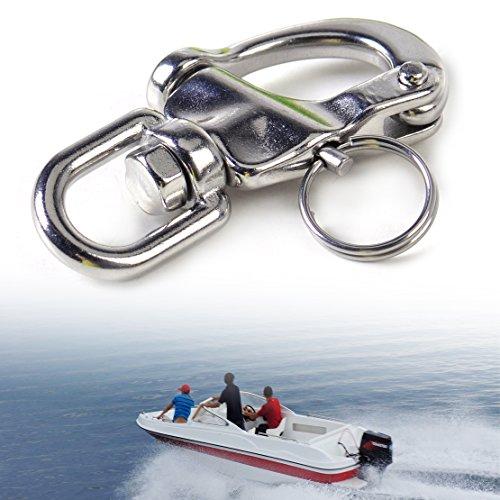 Preisvergleich Produktbild beler 70mm Edelstahl Wirbelauge Schnappschäkel Fallschäkel Wirbelschäkel Schnapphaken Karabiner Bootszubehör