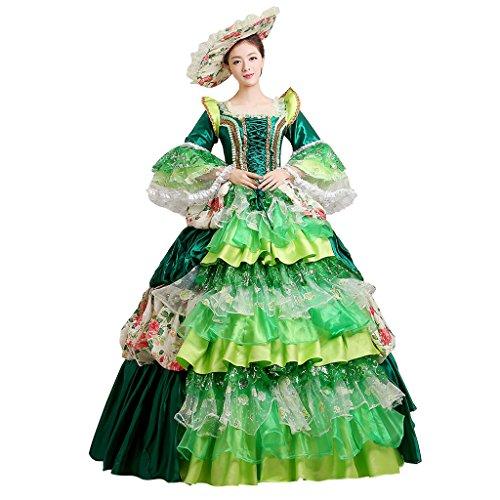 Cosplayitem Damen Mädchen Lagerter Gothic viktorianischen Kleid Kostüm Abendkleid Palace Maskerade Königin Prinzessin Kleid Grün