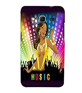 Fuson Music Girl Back Case Cover for SAMSUNG GALAXY CORE PRIME - D3658