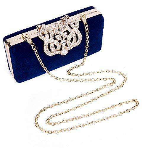 Damen Abendtasche Perlen Handtasche Klein Diamant Clutch Bag Glitter Frauen Kettetasche für Party Hochzei - Dunkelblau (Bobby Pin Tasche)