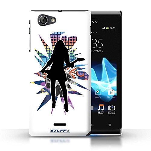 Kobalt® Imprimé Etui / Coque pour Sony Xperia J (ST26i) / Elvis Blanc conception / Série Rock Star Pose Rock Dame Blanc