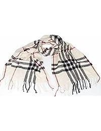 Large Soft designer check style soft Plaid scarf Cream
