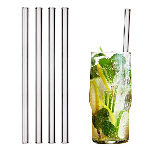 HALM Glas-Strohhalme 20 cm Transparent - 4 Stück gerade - Wiederverwendbare Glas-Trinkhalme aus SCHOTT® Glas + Reinigungsbürste gesunde Glastrinkhalme, Glasstrohhalme für Cocktail, Smoothie nachhaltig (Glas Aus)