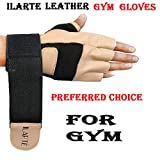 #8: Leather Gym Gloves with Wrist Support Best in Fitness, Workout, Exercise, Sports, Training, Hand Protector, Biking For Man, Women By ILARTE