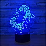 YS753 Doble Carpa Que modela la lámpara de Mesa USB 7 Colores Cambia la atmósfera Led Animal Night Lights Baby Sleep Iluminación Decoración Regalos para niños 3D