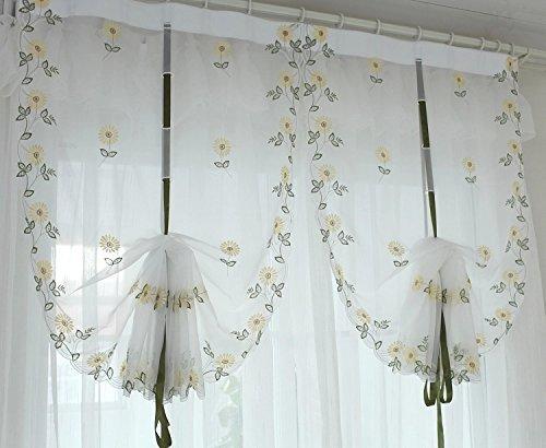 kerrone (TM) ricamo floreale Tulle Tende tenda finestra mantovana casa  cucina tende String/Cortinas/Tulle tessuto per tende Yellow