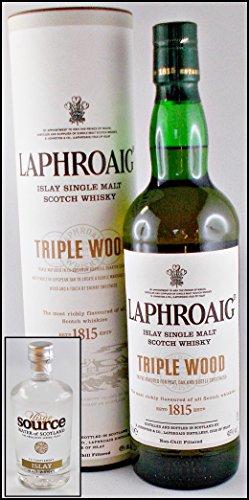 Laphroaig Triple Wood Single Malt Whisky mit Original Uisge Source Water of Scotland, kostenloser Versand