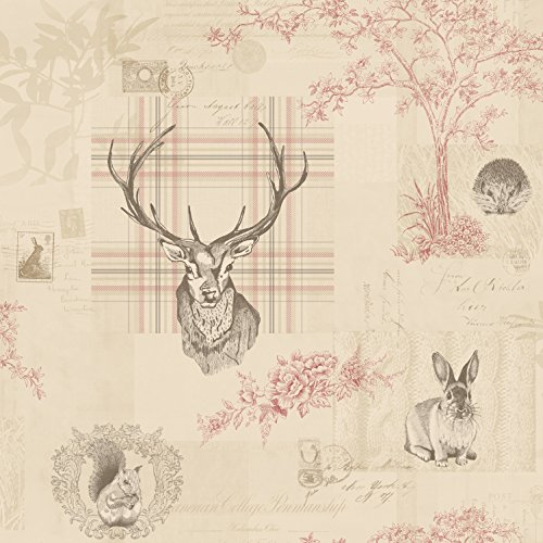 cranberry-red-linen-98010-nature-check-tartan-stag-trees-calligraphy-k2-holden-wallpaper