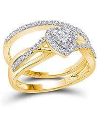 937847e3a012 Juego de anillos de compromiso de oro amarillo de 14 quilates para mujer  con forma de