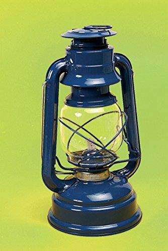 Favorit 2037B Sturmlaterne 25 cm Blau; gemütliche Gartenlaterne mit einstellbarer Dochthöhe; zum Befüllen mit Lampenöl; inkl. Bügel zum Tragen und Aufhängen; nach DIN 14059