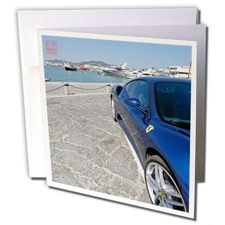3drose blau Ferrari 430Monza im Hafen von Ibiza, Spanien-Grußkarten, 15,2x 15,2cm, Set 12(GC 107559_ 2)