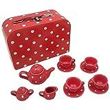 13-Teile Kinder-Teeservice Porzollan - Rot Picknickkoffer - Kinderküchenzubehör