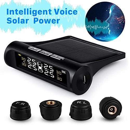 TPMS Sistema di Monitoraggio Della Pressione dei Pneumatici Wireless Senza Fili ad Energia Solare Reale Smart Voice Prompt