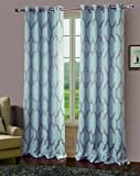 RT Designers Collection Bowery Jacquard Blackout Grommet Curtain Window Panel, 54 x 84 inches, Mist, 2 Pack