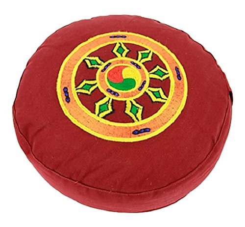 Mani Bhadra Yoga cuscino Yoga Lotus sedile cuscino da meditazione simbolo del dharmarad-Lotus Ø 33x 15cm-Rivestimento e federa 100%