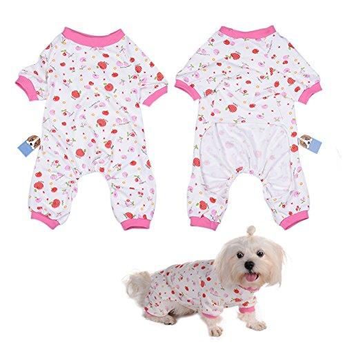 Per Hunde/Katze Pyjamas mit Lovely Kirschmuster und Four Feet Design, Weich Alle Jahreszeiten Haustier Schlafanzug Jacken für Kleine und Mittelgroße Hunde - XS/S/M/L/XL