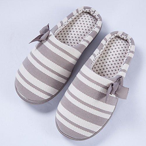 Hiver Fankou Coton Pantoufles Sacs À Main Avec Plancher Couvert Traîne Calme Jeune Maison Chaussures Chaudes Grau